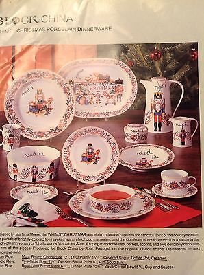 Block Whimsy Christmas China Nutcracker Bread And Butter Plates NEW 4pc Set