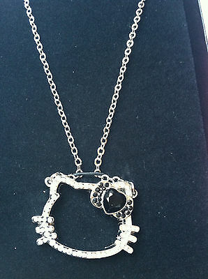 """Sanrio Hello Kitty Face Outline Rhinestones Necklace In Gift Box (appr. 1.5""""x1"""""""