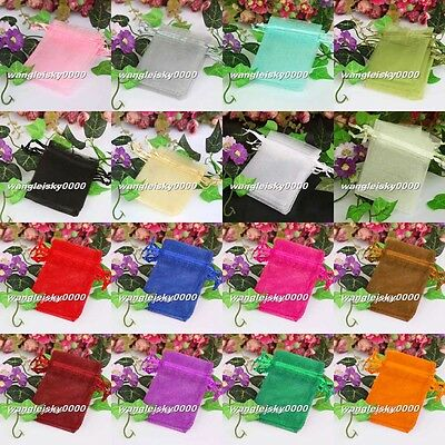 Mixed Colors Premium ORGANZA Wedding Favour GIFT BAGS Jewelery Pouches 2 Sizes