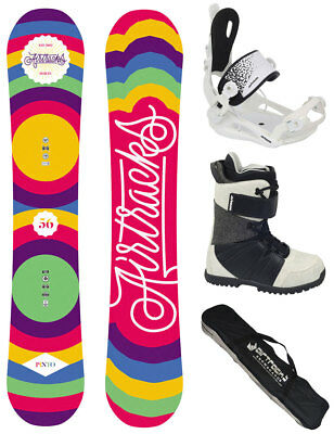 Snowboard Set AIRTRACKS Pinto Flat Rocker+Savage W Bindung+Boots+Bag 144 150 156
