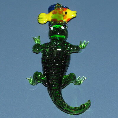 Glass Crocodile or Alligator Eating a Fish - Apprx  4 Inches
