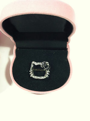 Sanrio Hello Kitty Rhinestones Face Ring Pink Or Black Color In Kitty Gift Box