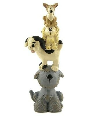 Blossom Bucket-DOG STACK Figure with Four Cute Dogs/Puppies