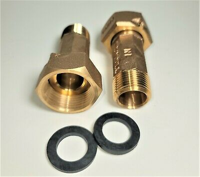 "PAIR 3/4"" Water Meter Couplings, LEAD FREE brass, 3/4"" Swivel nut x 3/4 male NPT"