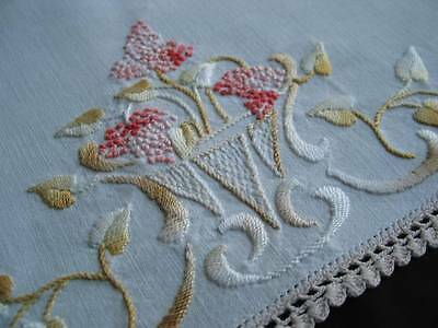Vtg Antique Hand Silk Embroidered French Knot Linen Lace Doily crochet trim