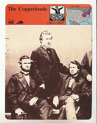 THE COPPERHEADS Clement Vallandigham Slavery Supporters 1979 STORY HISTORY CARD