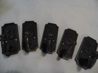 Set Of 5 Shabby Vintage Chic Cast Iron School Coat Hooks Stamped No.3 Fabulous!