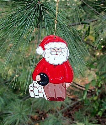 Bowler Santa - handpainted wooden ornament #198