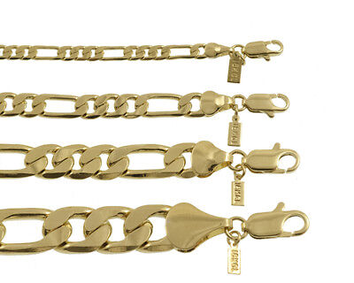 18K Gold Plated Figaro Chain Necklace/Bracelet Made In USA -LIFETIME WARRANTY