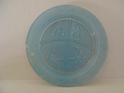 VINTAGE BLUE GLASS 3 SECTION BABY DISH WHERE ARE YOU GOING MY PRETTY MAID