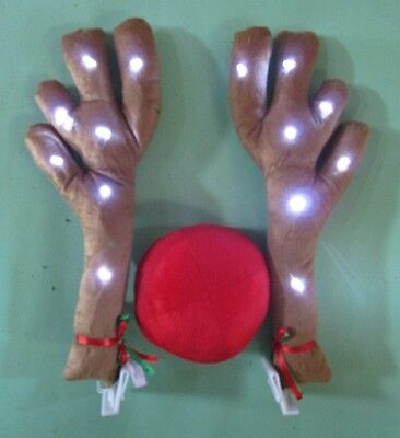 Lighted Antlers Red Nose Rudolph Reindeer Car Truck Costume Christmas Decoration
