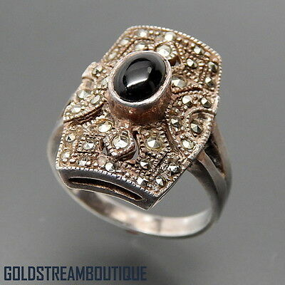 VINTAGE STERLING SILVER OVAL BLACK ONYX & MARCASITES ART DECO RING, SIZE 9