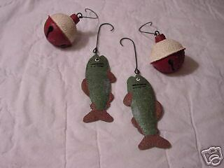 FISH & Fishing Bobber Jingle Bells ~ Bell Ornaments 4pc Christmas woodland NEW