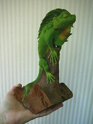 (TL-410) XL Green Iguana LIZARD reptile TEAK WOOD carving FIGURINE love lizards