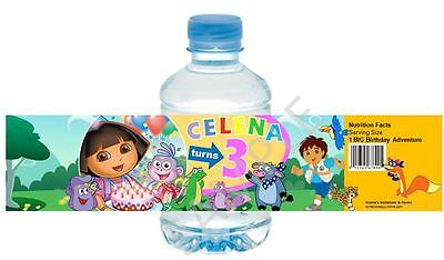 Dora the Explorer Water Bottle Wrappers - Birthday Favors - Set of 12