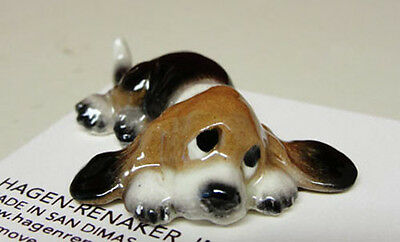 ➸ HAGEN RENAKER Dog Miniature Figurine Basset Hound Puppy Lying