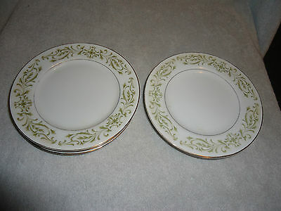 Vintage Allegro Fine China Bread Plate Lot of 6  Green Scrolls & Gold Trim Japan