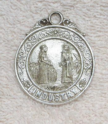 INDUSTRY KEY CHAIN FOB NECKLACE MEDALLION UTAH MORMON SILVER PLATED  COPPER