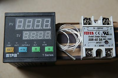 90-265V Digital F/C PID Temperature Controller Thermostat TA4-SNR+PT100+ 40A SSR