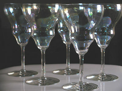 5) Fostoria - Mother of Pearl - Glasses - Goblet(s) Iridescent LUSTRE GLASS USED