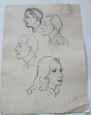 Dessin Charles Kiffer (1902-1992) Belle Etude personnages crayon vers 1940 signé