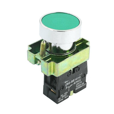 22mm Panel Mounted AC 240V 3A SPST NO Momentary Push Button Switch Green
