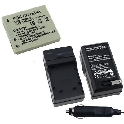 NB-4L Battery&Car Wall AC Charger For Canon PowerShot ELPH 100 300HS IXUS 130 IS