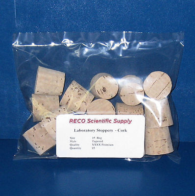 Tapered Cork Stoppers, RECO Premium grade, Size 15 XXXX Reg, Pack of 15, New