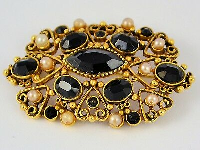 Estate Florenza Antique Gold tone Pin with Black Onyx Stones and Small Pearls