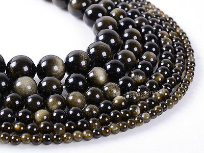 "Natural A level gold obsidian crystal round gemstone beads 15.5"" 4mm to 18mm"