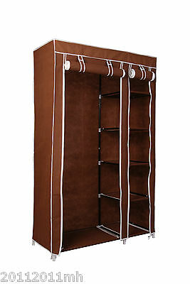 "HOMCOM 69"" Portable Closet Storage Organizer Clothes Wardrobe Rack Shelve Coffee"