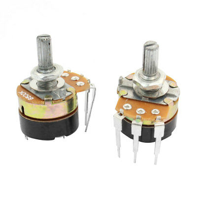 2 Pcs B500K 500K Ohm 20mm Shaft Rotary Carbon Potentiometer with ON/OFF Switch