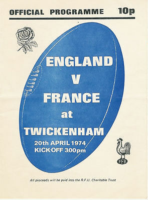 ENGLAND v FRANCE 1974 RUGBY PROGRAMME 20 APRIL AIR DISASTER CHARITY MATCH