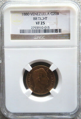 1880 Gold Venezuela 20 Bolivares Coin Ngc Very Fine 25 Variety 88 Tight