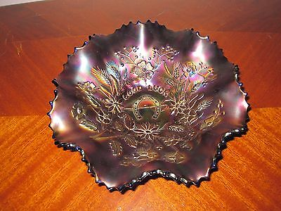 NORTHWOOD CARNIVAL GLASS GOOD LUCK RUFFLED BOWL IN BLUE