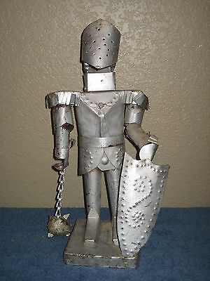 Silver Knight Statue - All Tin - Vintage Hand Made Gladiator - All Metal
