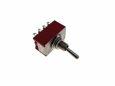 12-Pin 4PDT Toggle Switch - Red - Panel Mount Type  ON-OFF-ON
