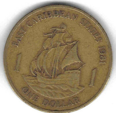 """EAST CARIBBEAN STATES 7-PIECE CIRCULATED """"YOUNG HEAD"""" COIN SET, 0.01 TO $1.00"""