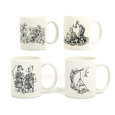 IMA Coffee Mug Set of Four- Caricatures of British Forces in WWII