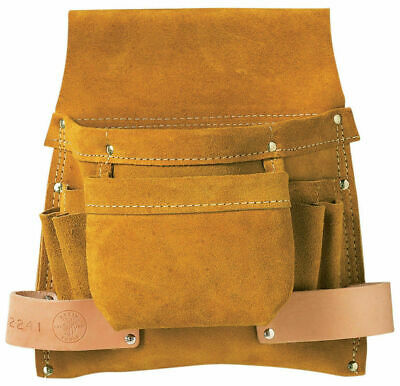 Klein Tools 42241 6-Pocket Leather Nail, Screw, and Tool Pouch