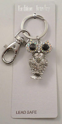 RHINESTONE BLING WISE OLD OWL WITH HEART LOVE CHARM KEY CHAIN PURSE FOB #K-36