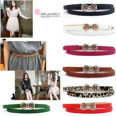 Fashion Womens Ladies PU Leather Thin Narrow Bowknot Waist Belt Waistband Strap