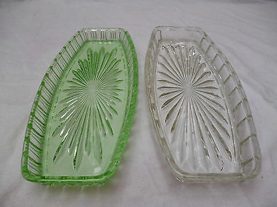 2 DEPRESSION GLASS SANDWICH or SERVING PLATES - GREEN & CLEAR