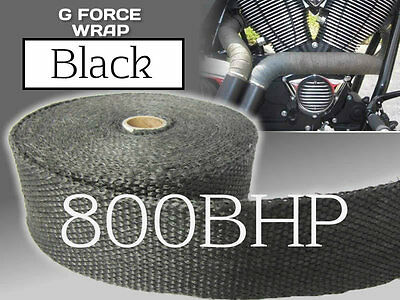 BLACK HEAT WRAP - 50mm x 10M (Exhaust Bandage) HIGH QUALITY UK MANUFACTURED