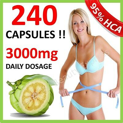 240 x 3000mg DAILY GARCINIA CAMBOGIA CAPSULES HCA 95% DIET ORGANIC WEIGHT LOSS