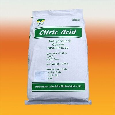 Citric Acid 25kg Bulk Sack - Food Grade - Bath Bombs, Wine Making, Descaler