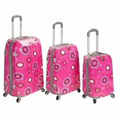 Rockland Vision Pink Circles Light Weight 3-piece Hardside Spinner Luggage Set -