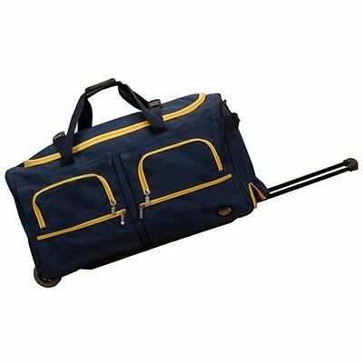 """Rockland Deluxe 30"""" Rolling Duffel Bag - Navy with Yellow Trim"""