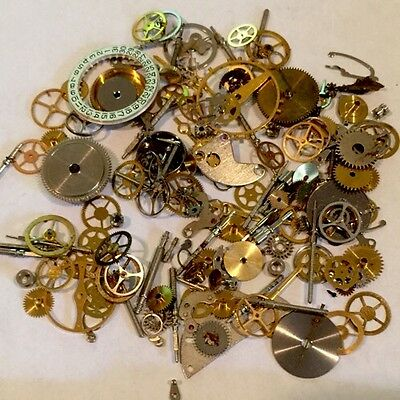 10g Grams STEAMPUNK WATCH PARTS Gears Wheels cogs vintage antique old art pocket