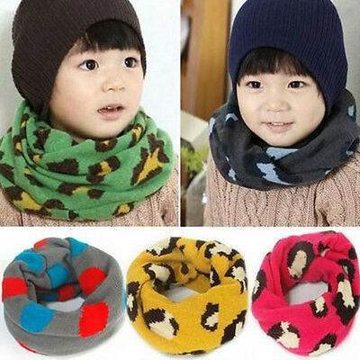 Winter Baby Kid Girls Boys Leopard Artificial Wool Warm Neck Wrap Scarf Scarves